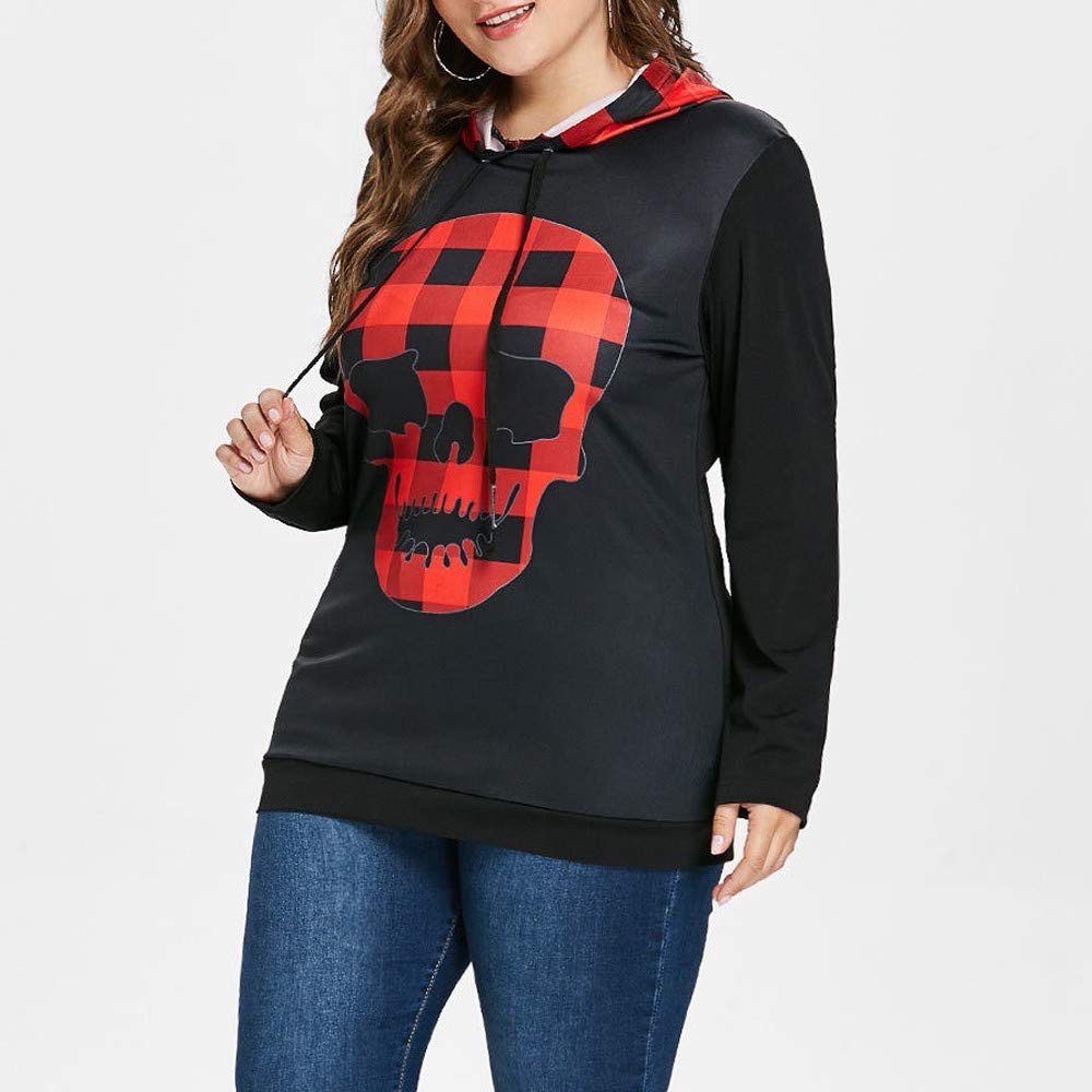 TONSEE Women Long Sleeve Red Big Skull Printed Hoodie Sweatshirt Jumper Pullover Top