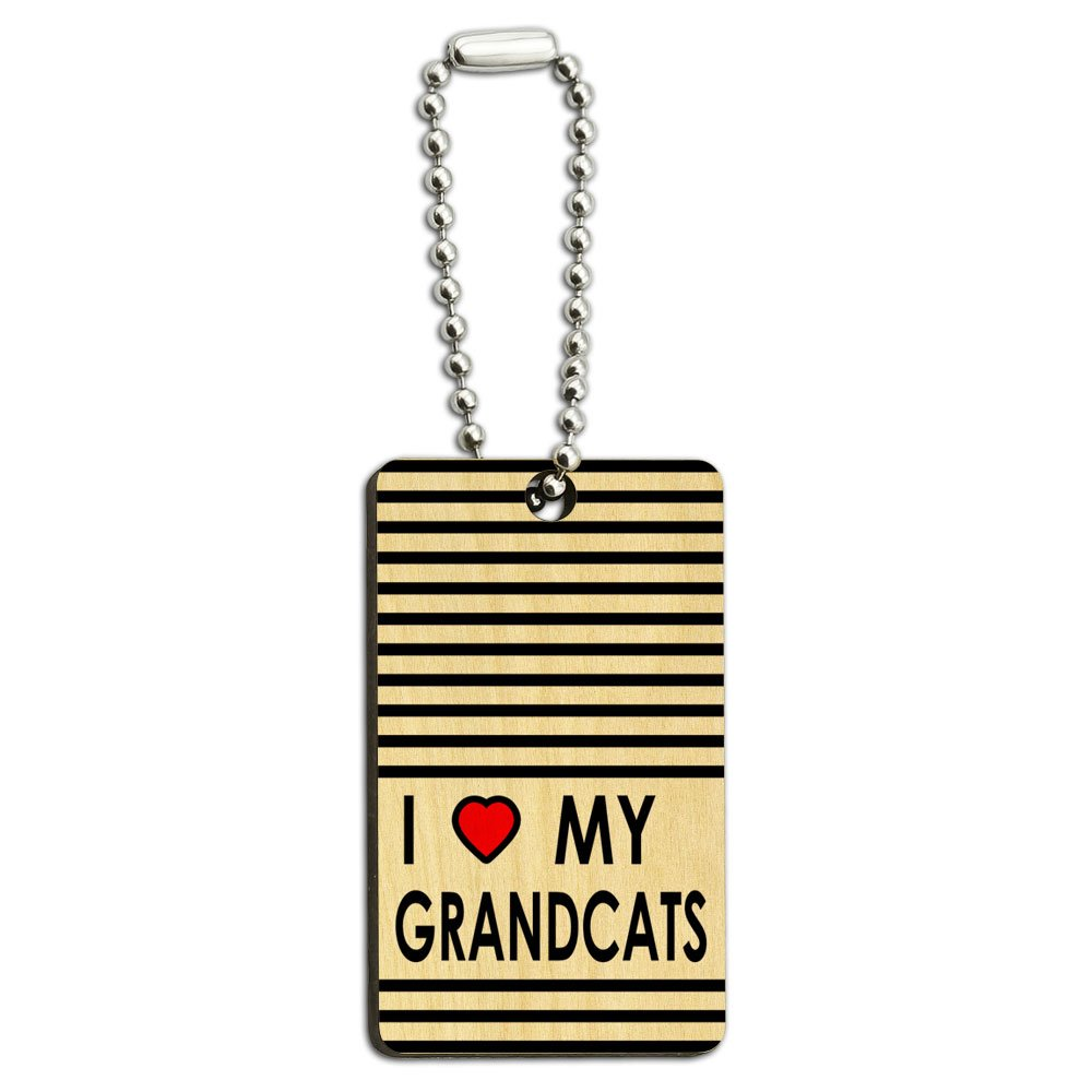 I Love Heart My Grandcats Wood Wooden Rectangle Key Chain