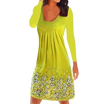 04f006c2b141 HhGold Damen Sommerkleid Gedruckt Partykleid Abendkleid Tops Lässig Frauen  Lose Rundhals Kleider Kleid Schlank Kleidung Falten