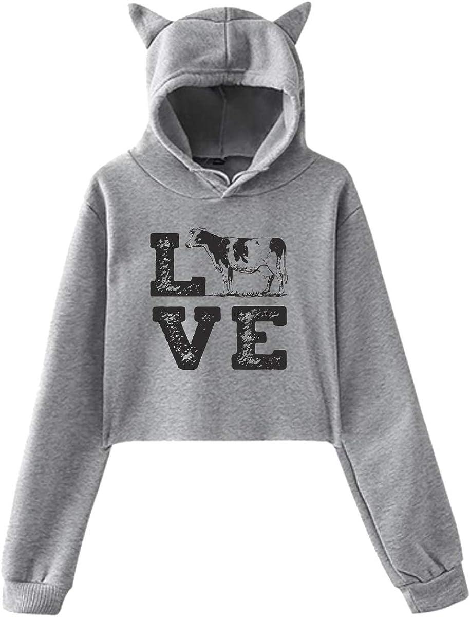 Love Cows Cute Cat Ear Crop Top Hoodie Sweatshirt for Women Teen Girls