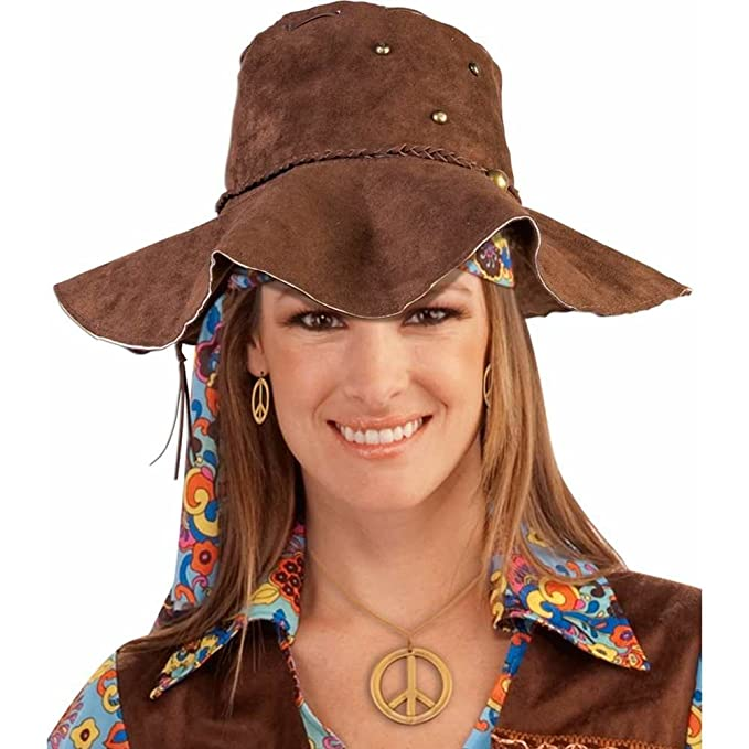 Amazon.com  Forum Novelties Hippie Men s Suede Hat Party Supplies ... 7513ef86569