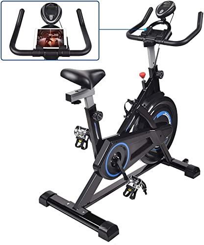 ELECWISH Cycling Bike Stationary Compact Exercise Bike Belt Drive Indoor Cycling Workout Bike with Exercise Mat, LCD Digital Monitor and Ipad Mount Flywheel, Bicycles Workout Bike Inside for Home Gym Spin Classes