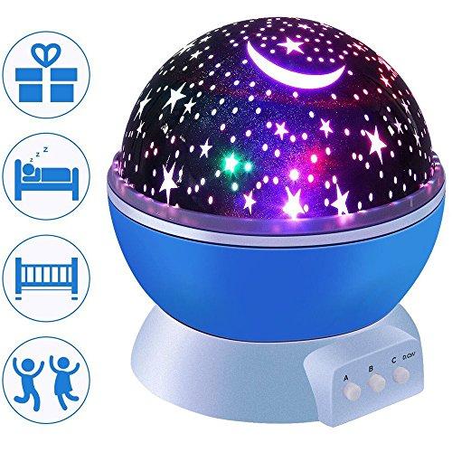 Damaifeng - Lámpara de proyector con diseño de estrella giratoria para niños (8 escenas...