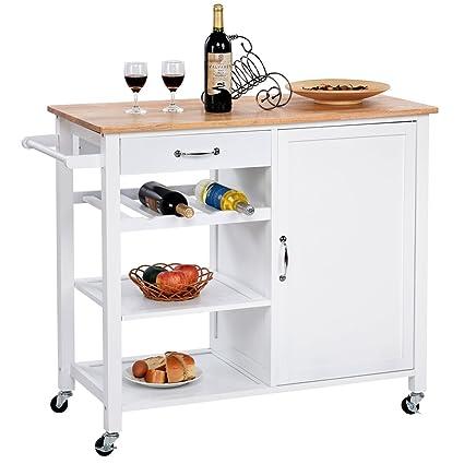 Giantex Kitchen Trolley Cart W Wheels Rolling Storage Cabinet Wooden Table Multi Function Island Cart Kitchen Truck White