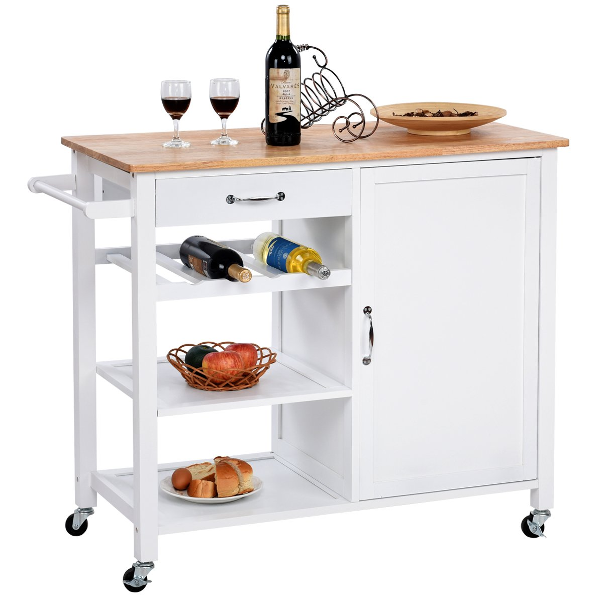 Giantex Kitchen Trolley Cart w/Wheels Rolling Storage Cabinet Wooden Table Multi-Function Island Cart Kitchen Truck (White) by Giantex (Image #1)