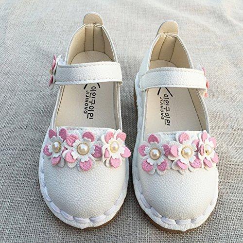 Vokamara Kleinkind Schuhe Weiche Gummi Sohle Mary Jane Flache Schuhe Weiß