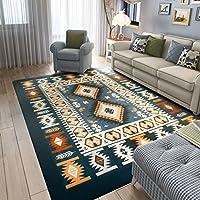 MAXYOYO Mediterranean Style Square Carpet Living Room,Ultra Soft Short Flannel Dark Blue Large Area Rug