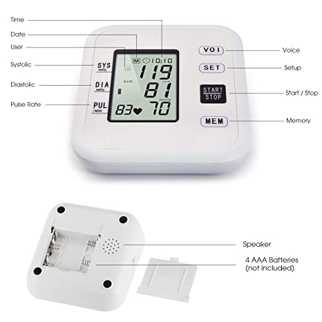 Amazon.com: Blood Pressure Monitor Hong S Upper Arm Automatic High Blood Pressure Monitor with Crystal Digital Display 99 Set Memory Voice Broadcast ...