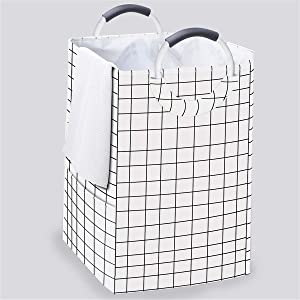 homyfort Large Laundry Hamper Basket 2 Section Hampers, Storage Basket Bag Bin with Study Aluminum Handles for Washing Storage
