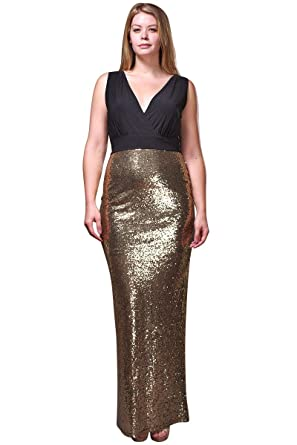 Nyteez Womens Plus Size Long Sequin Sleeveless Evening Gown 1x