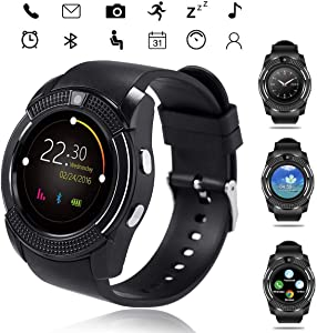 Smart Watch, Bluetooth Smartwatch Touch Screen Wrist Watch with Camera/SIM Card Slot Watch Wrist Phone Watch Touch Screen Fitness Tracker with Heart Rate Monitor Android and iOS