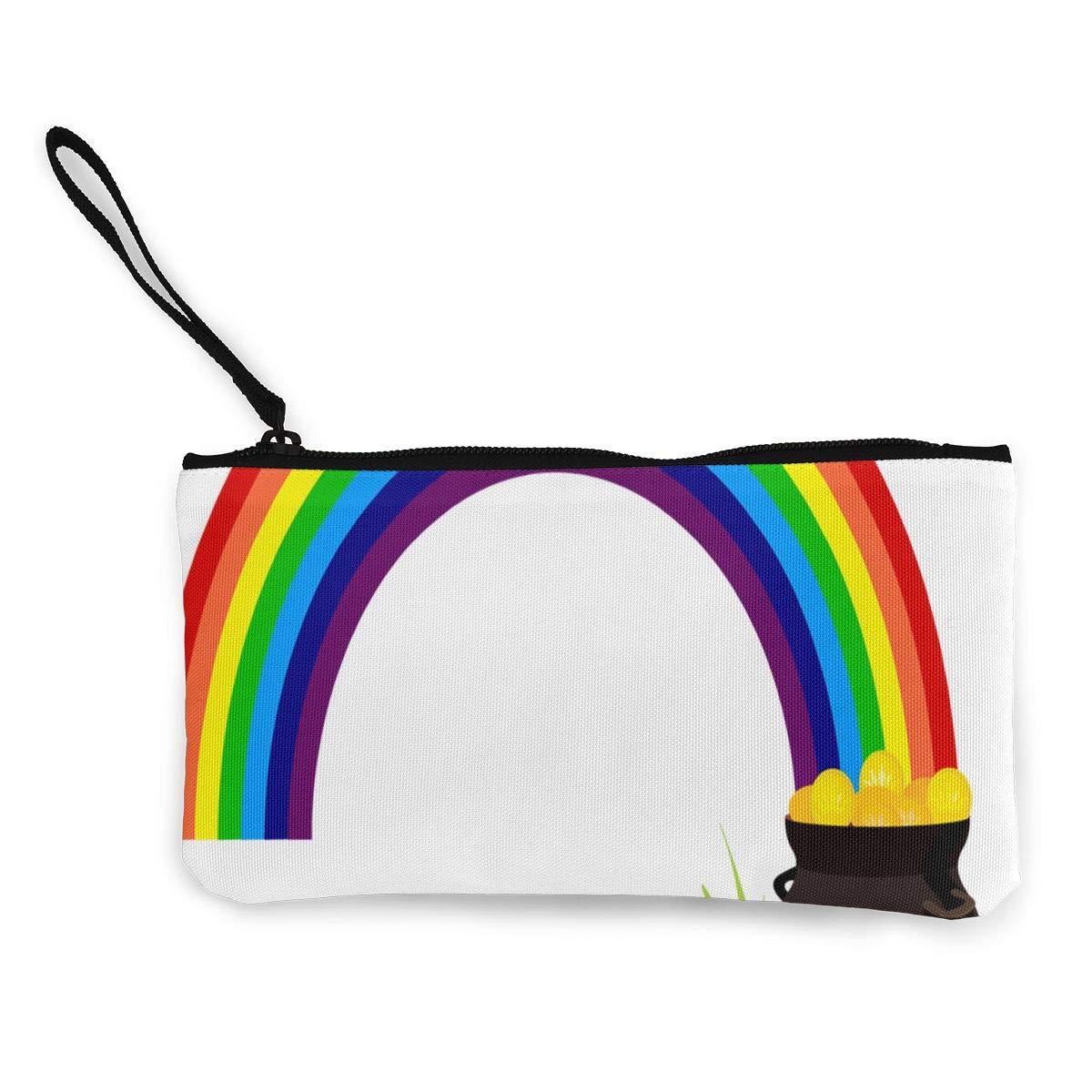 小銭入れ レインボー 聖パトリックの祝日 レディース ジップ キャンバス 財布 旅行用 スペシャルバッグ 4.5