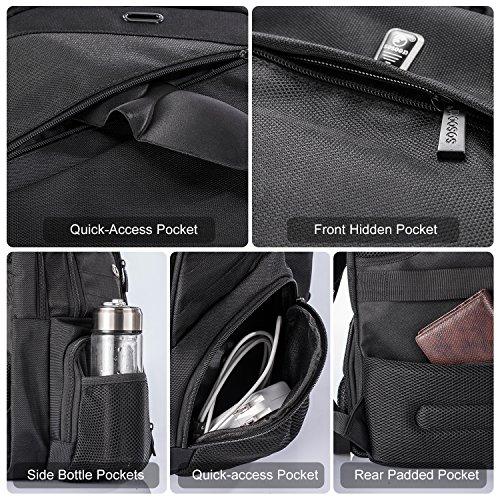 Sosoon Laptop Backpack, Business Anti-Theft Travel Backpack with USB Charging Port, Water Resistant Large Compartment College School Computer Bag for Men and Women for 15.6 inch Laptop and Notebook by Sosoon (Image #3)