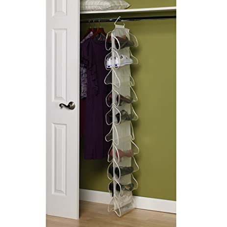 20 Pocket Hanging Shoe Organizer Storage Space Saver Closet Canvas Rack  Holder