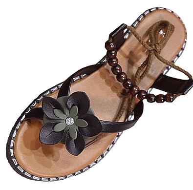 Bevalsa Damen Sommer Mode Böhmen Sandalen Flach Mädchen Schuhe Flip ...