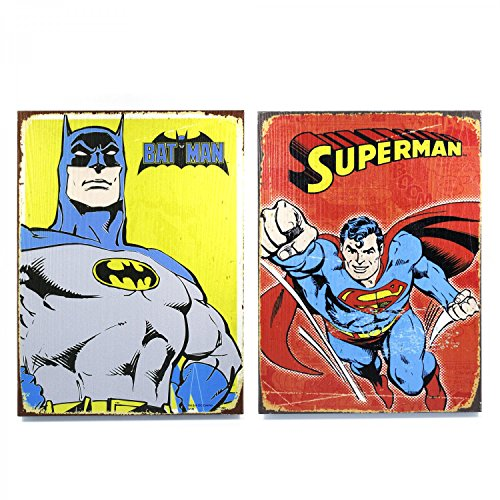 Vintage Parts 334054 Retro DC Superman & Batman Wooden Sign Man Cave Combo Pack, 1 Pack at Gotham City Store