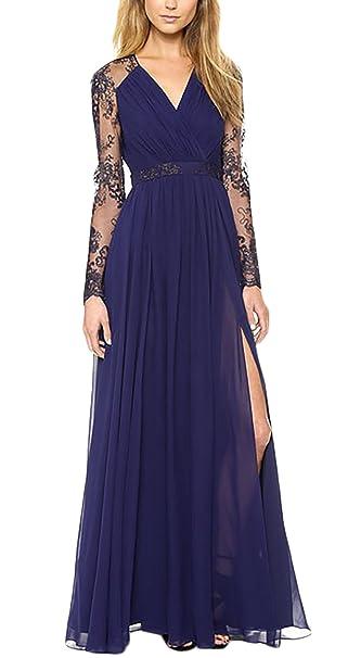 282ce881f025 Vestiti Donna Eleganti Lunghi Chiffon In Pizzo Estivi Cerimonia Da Sera  Cocktail Vintage Manica Lunga V