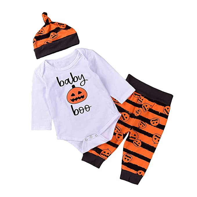 81021b6aa35 Image Unavailable. Image not available for. Color  FENICAL 3pcs Set Halloween  Baby Clothing Set Long Sleeves Pumpkin Rompers Pants Hat Baby Boys