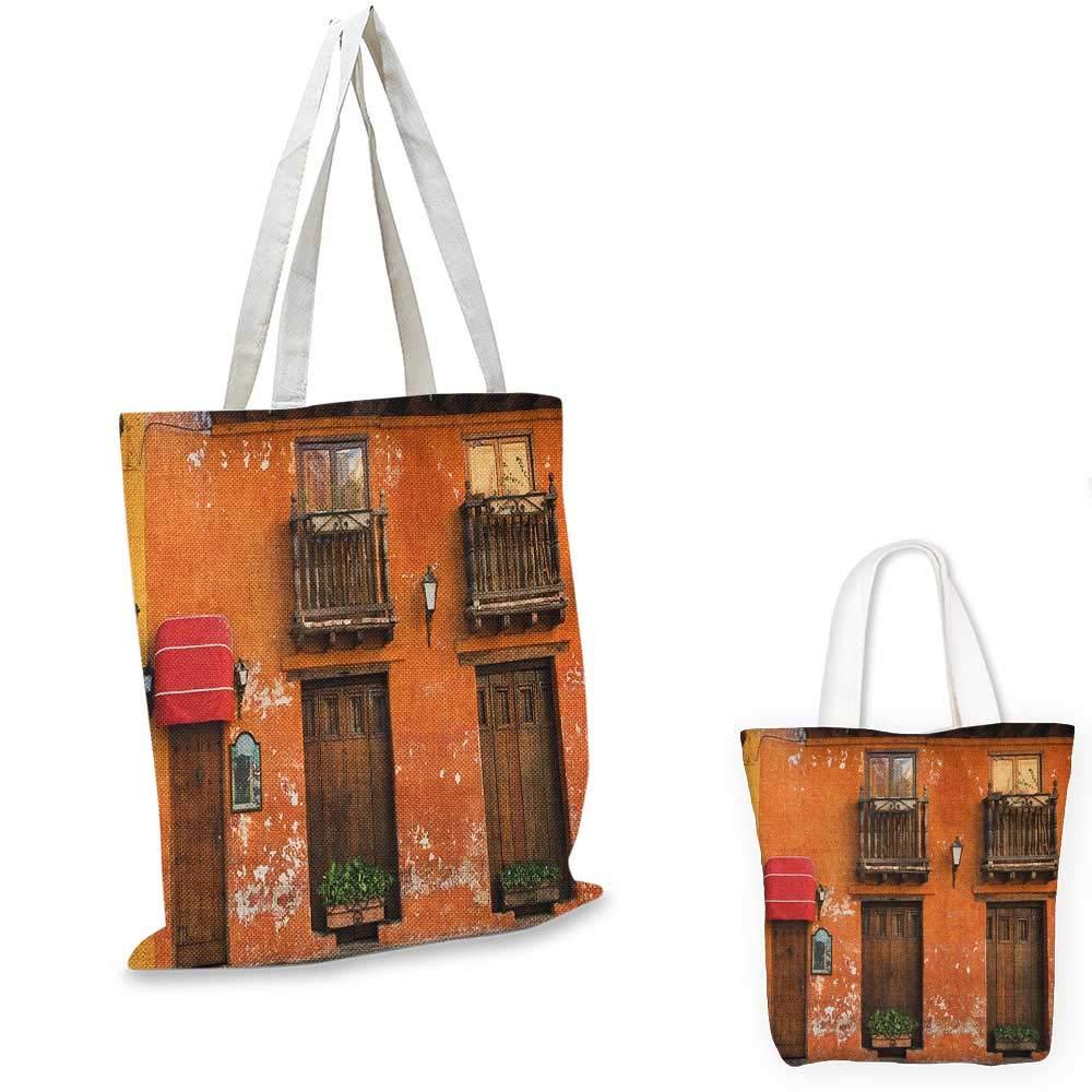 America canvas messenger bag Cartagena Streets with Vibrant Color Building Facade Caribbean Landscape Columbia canvas beach bag Orange Brown 12x15-10