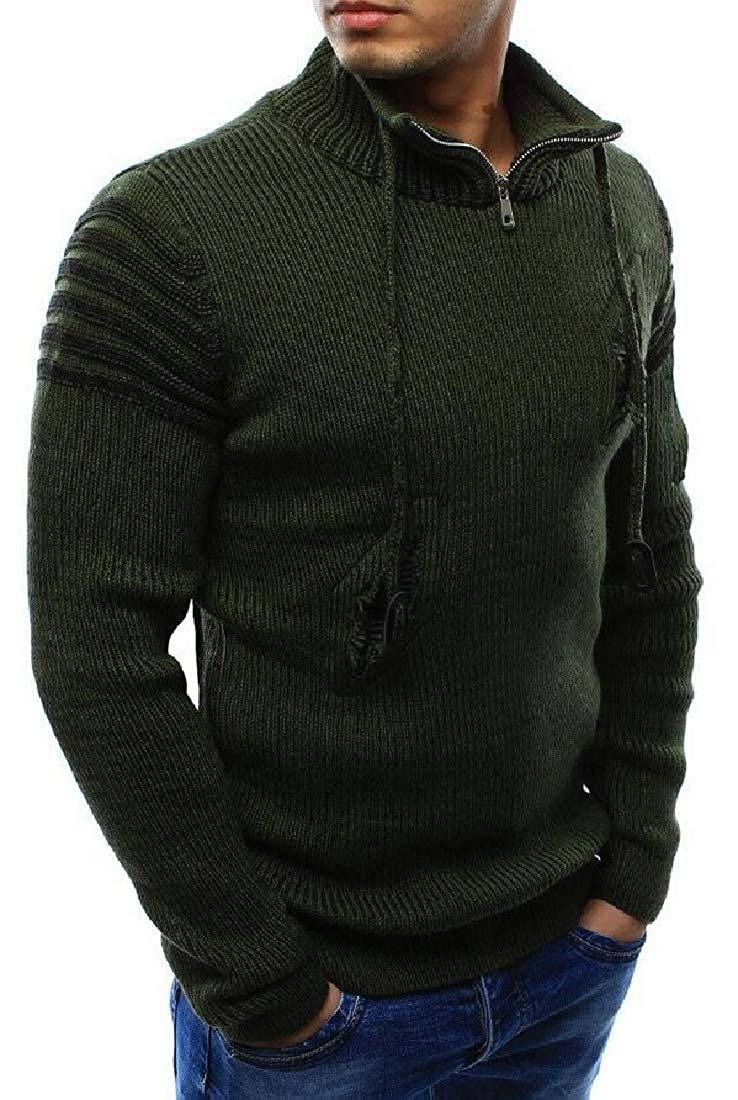 Yayu Mens Solid Zip Hole Top Sweater Pullover with Half Zipper