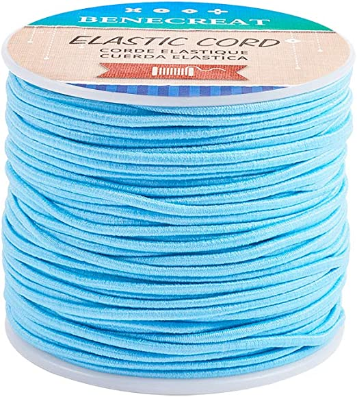 HEALLILY 1 Roll 50M Elastic String Cord Stretchy Bracelet Beading Thread Fabric Cord Crafting Elastic Band for DIY Jewelry Making Bracelets Clothes White