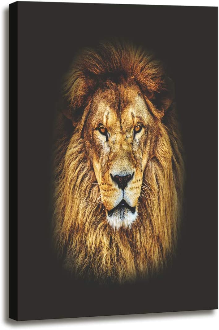 DZL Art D72134 Canvas Wall Art Mighty Lion Animal Painting Prints on Canvas Framed Ready to Hang for Home Wall Decor