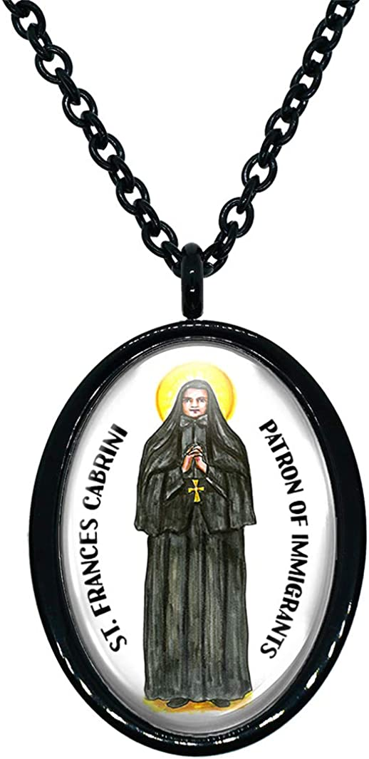 My Altar Saint Francis Cabrini Patron of Immigrants Black Stainless Steel Pendant Necklace