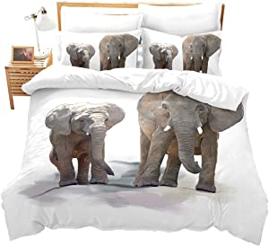 Loussiesd Elephant Comforter Cover Set Full Size 3D Animals Series Bedding Set 3 Pieces for Kids Boys Teens Adults Bedspread Luxury Microbifer Polyester Duvet Cover with Zipper Closure