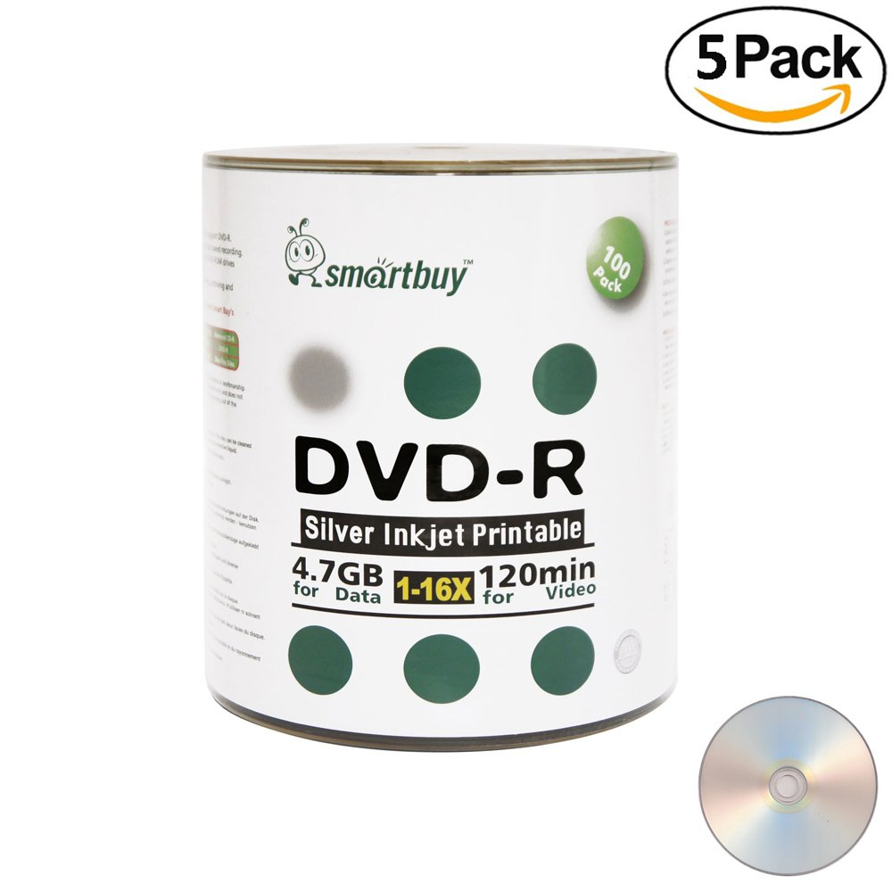 Smart Buy 500 Pack DVD-R 4.7gb 16x Silver Printable Inkjet Blank Record Disc, 500 Disc 500pk