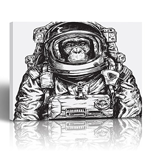 - Emvency Painting Canvas Print Square 24x32 Inches Hipster Hand Drawn Monkey Astronaut Space Funny Alien Helmet Animal Ape Moon Wall Art Decoration Wrapped Wooden Frame