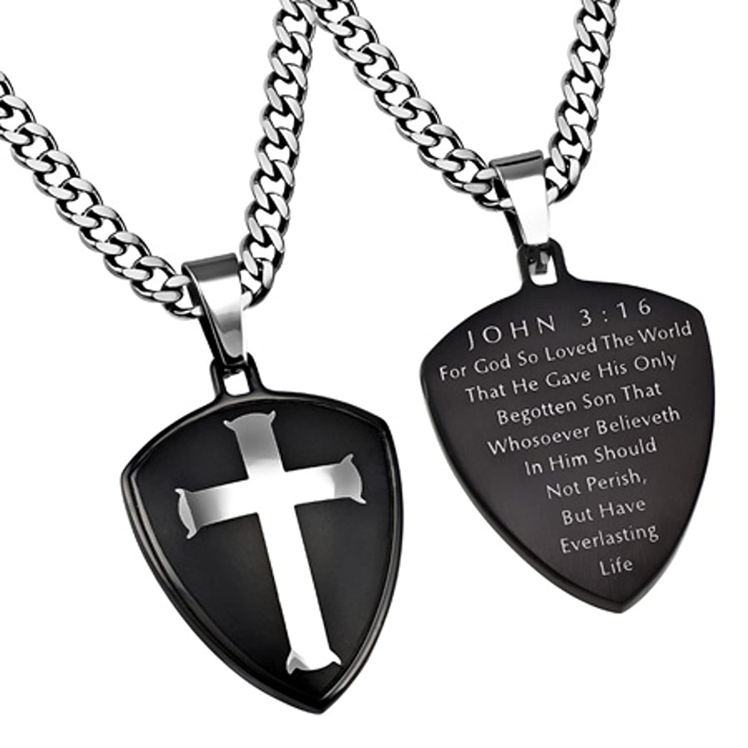 john 3 16 necklace cross shield pendant with stainless steel