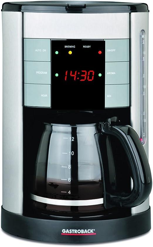 Gastroback Design Coffee Aroma Plus Cafetera de goteo programable, capacidad de 12 tazas, 1.7 l, 950 W, 14 Cups, 0 Decibeles, Negro, Plata: Amazon.es: Hogar