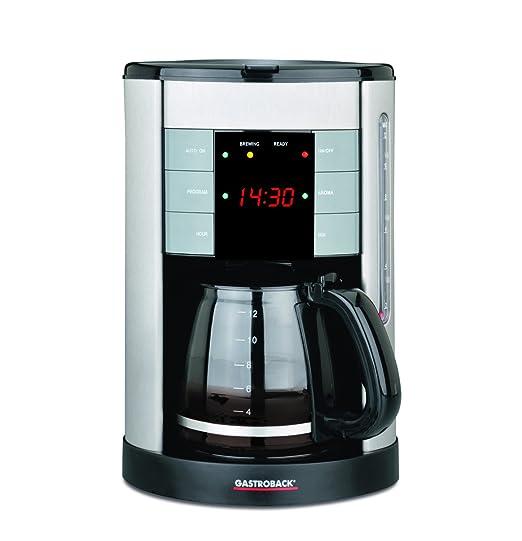 Gastroback Design Coffee Aroma Plus Cafetera de Goteo programable, Capacidad de 12 Tazas, 1.7 l, 950 W, 1.7 litros, 0 Decibeles, Negro, Plata
