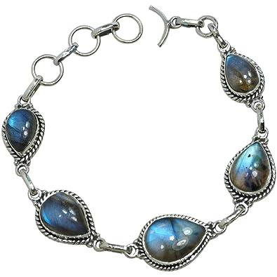 Nouveaux produits 9839a 06078 CZgem Nature Bracelet Labradorite Argent Sterling de Bijoux ...