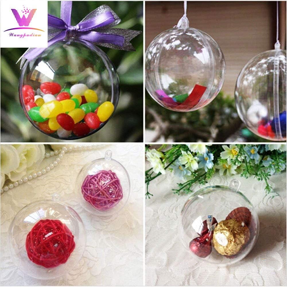 YunZyun Christmas Decorations Ball Clear 8CM 8cm Christmas Decorations Ball Transparent Can Open Christmas Clear Ornament Easy to Clear