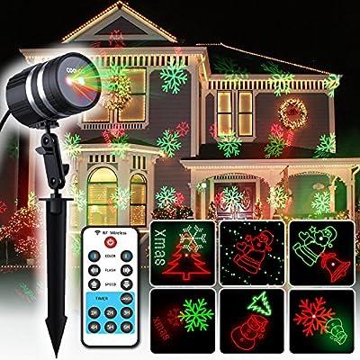 Moderne Weihnachtsbeleuchtung Außen.Coowoo Weihnachtsbeleuchtung Led Weihnachts Projektor Beleuchtung Für Innen Und Außen Rot Grün Mit 8 Mustern Im Aluminium Gehäuse Und