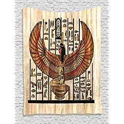 Ambesonne Egyptian Decor Collection, Ancient Religion Historical Art Egyptian Parchment Texture Background Image, Bedroom Living Room Dorm Wall Hanging Tapestry, Ivory Orange