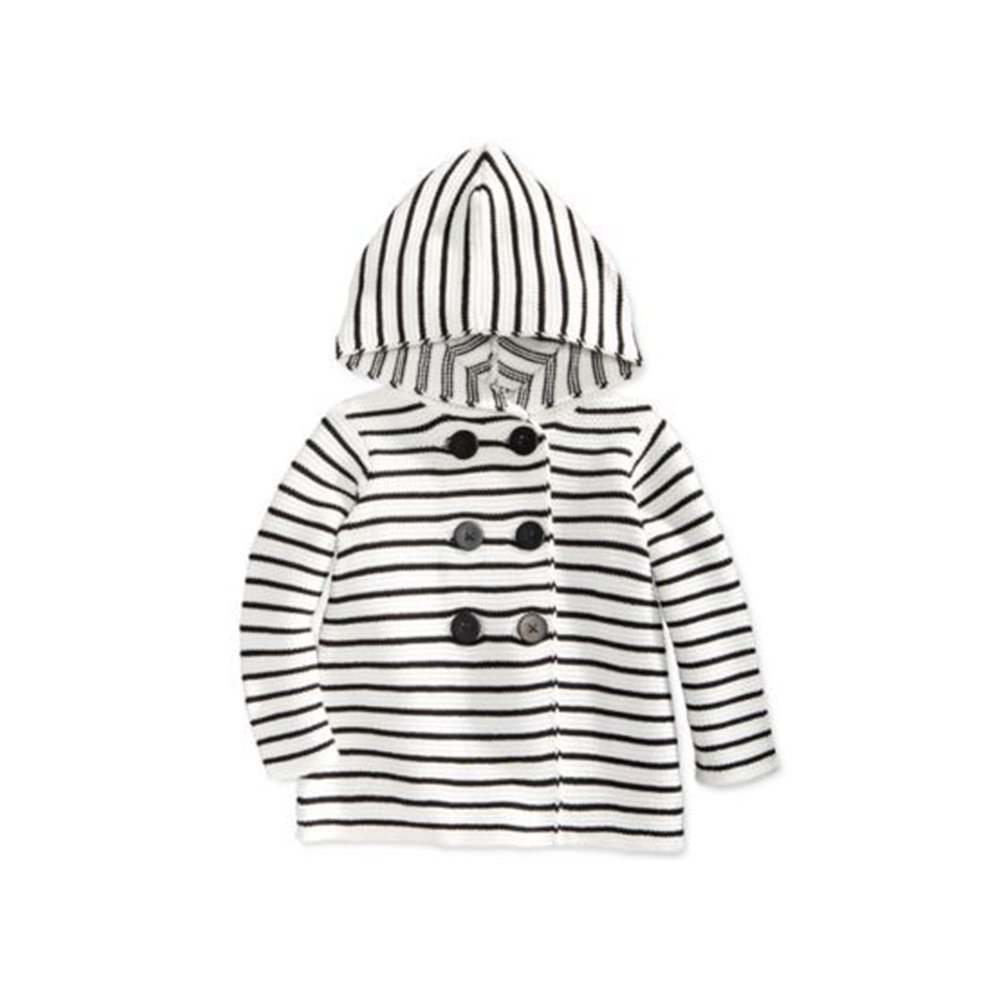 First Impressions Baby Girls Double-Breasted Black and White Striped Hooded Sweater
