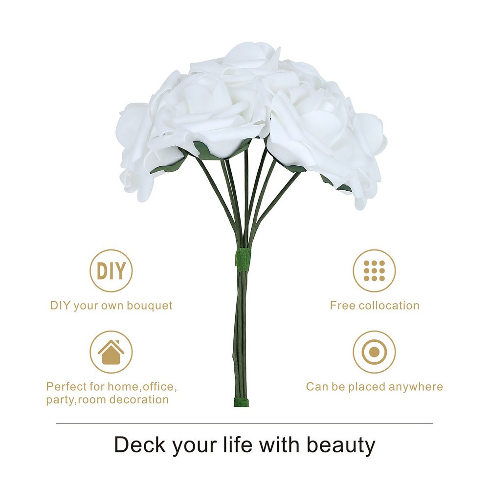 Febou Artificial Flowers, 50pcs Real Touch Artificial Foam Roses Decoration DIY for Wedding Bridesmaid Bridal Bouquets Centerpieces, Party Decoration, Home Display, Office Decor (White)