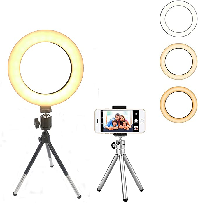 FESTNIGHT DC5V 6W LED Light Round Selfie Camera Lamp with Telescopic Tripod USB Powered Operated 10 Levels Adjustable Brightness//Color Temperature Changing// 360/° Rotatable Illumination Angle for Live
