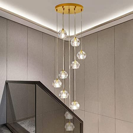 Moderno Lámpara colgante de cristal Lámparas restaurante giratorios Escalera luces personalizado bar Lámparas de Hogares Mesa de comedor enciende la lámpara colgante (Color: 10 de luz), Color: 6 Luz: Amazon.es: Hogar