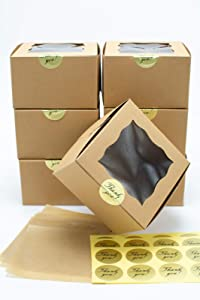 25 Pack Display Window Brown Bakery Boxes for Small Cake, Cookie, Dessert, Donut, Pie Slice, Pastry Durable Kraft Box for Gift Giving (6 x 6 x 3 inches) Stickers and Parchment Paper Included