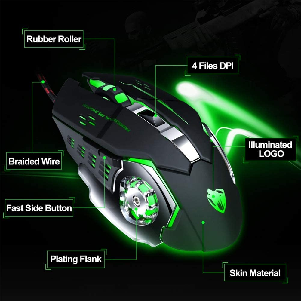 QLPP Gamer Gaming Mouse,with 3200DPI Adjustable,Wired Optical LED Computer Mice,USB Cable Silent Mouse,for Laptop PC,A