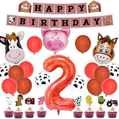 Kit de fiesta de cumpleaños de animales de granja - Decoraciones de fiesta de corral con globos de granja Feliz cumpleaños Banner Cupcake Toppers