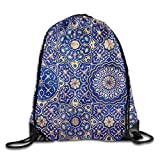 Yishuo Gold And Blue Ceiling In A Muslim Mosque Islamic Traditional Religious Ornament Drawstring Pack Beam Mouth Gym Sack Shoulder Bags For Men & Women