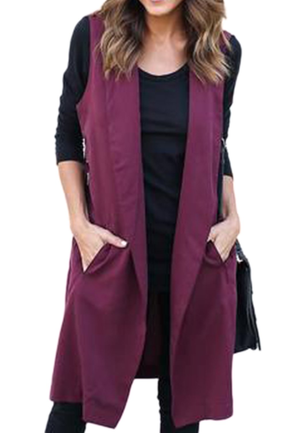 Women Shawl Collar Sleeveless Open Front Cardigan Jacket With Belt CAKXFS13