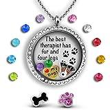 Dog Necklace For Women | Paw Print Necklace Floating Charm Necklace Dog Mom Jewelry Set | Dog Gifts For Women | Paw Necklace & Dog Lover Gifts For Women, Girls And Teens, Dog Quotes Dog Charm Necklace