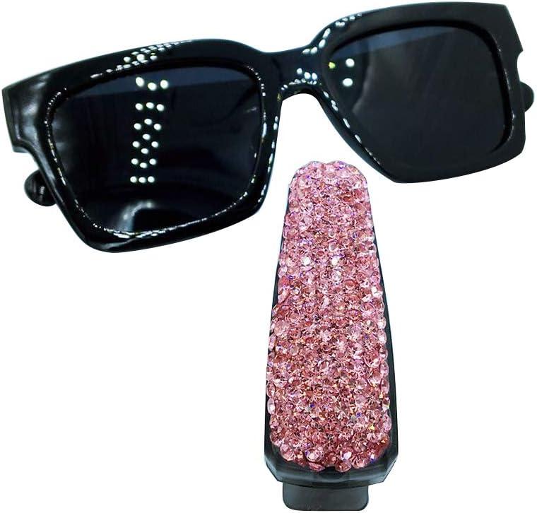 KKmoon Car Sunglasses Holder Clip Bling Diamond Rhinestone Shining Car Sun Visor Sunglasses Clip Holder Pink