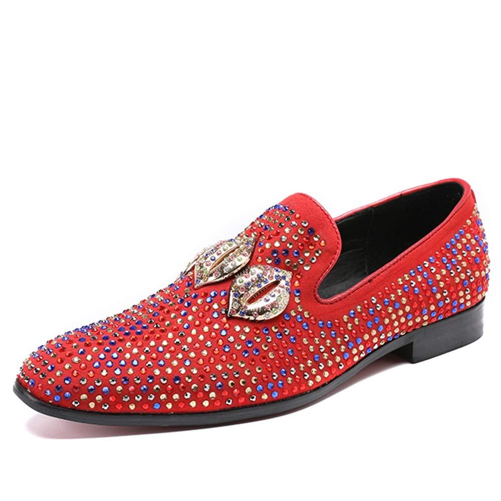 Rui Landed Oxford para el Hombre zapatos Formales de Deslizamiento en Estilo Cuero Genuino Colorido Rhinestones patrón de Labios Discoteca zapatos de Vestir Discoteca rojo