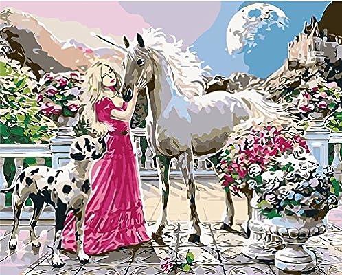 Pack de 3 cepillos 24 pinturas, Rosa Falda Blonde Girl fondle caballo, DIY pintura al óleo principiante pintura por número kits de arte pintura Canva Juego de pintura y pincel para adultos